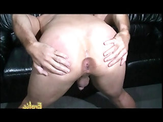 Busty brunette hottie bangs her man with massive sex toy