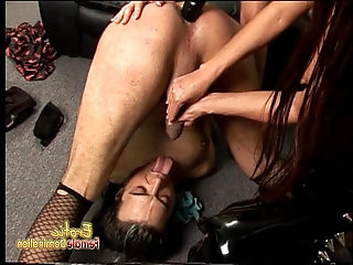 Well endowed stallion gets hammered by two slutty dominatrix sex bombs