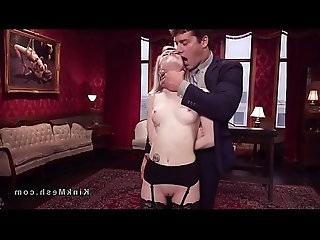 Couple submitting sexy blonde slave in threesome
