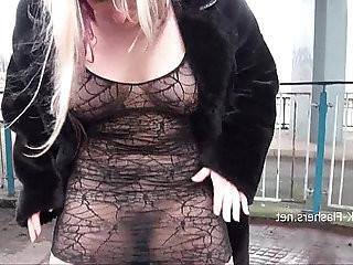 Sexy blonde Kaz flashing firm tits milf public nudity of european exhibition