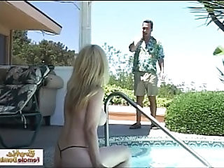 Cougar agent fucked on the job by the pool
