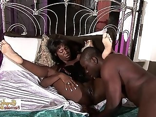 Sexy Long legged Black Beauty Slammed On The Bed