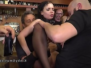 Busty slave rimming and anal fucking in public
