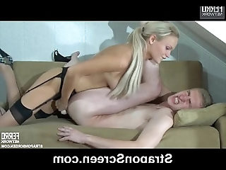 Playful blonde brandishes her oustanding strapon pork dagger and nails down her crotch dude