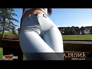 Spanish beautiful brunette teen in skinny jeans cameltoe