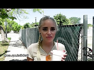 Hot blonde bangs stranger in abandoned house