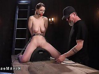 Huge naturals sub rides Sybian in bondage