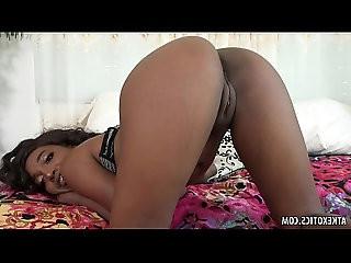 Hot ebony Daya Knight rubs her twat for you