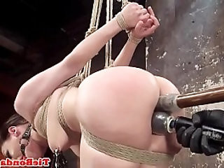 Restrained bondage sub fingered by maledom