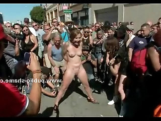 Group of sluts undressed in public sex