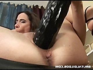 European slut stretching her pussy and ass with a brutal dildo