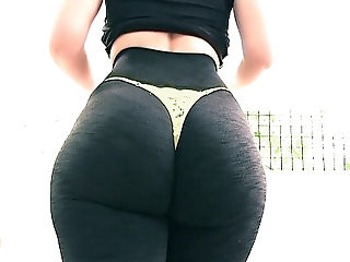 Enormous Big Round Ass! Tiny Waist! Cameltoe Pussy. Thong and Spandex