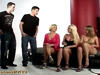 CFNM babes sucking gloryhole cock