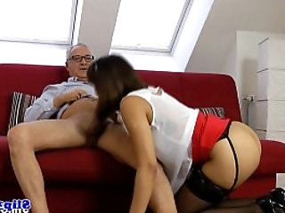 Classy eurobabe drools all over old mans cock