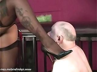 Ebony Nylon Mistress With Slave