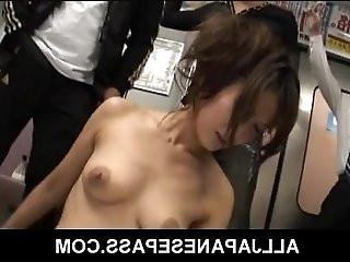 Shaved Japanese angel Asami Yoshikawa fucking on the subway