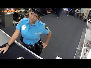 Police officer with huge boobs fucked in the backroom