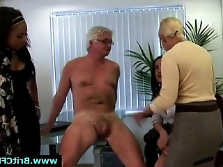 Mature British femdom lady and two younger girls in hard punish CFNM guy in office