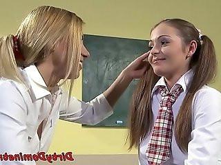 Euro schoolgirl pussyfingered in bondage