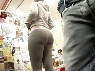 Big booty PAWG shopping in grey spandex