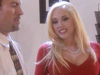 Kagney Linn Carter in red top and stockings sucking and fucking in office