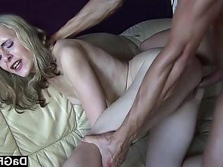 Skinny blonde slut gets fucked and jizzed