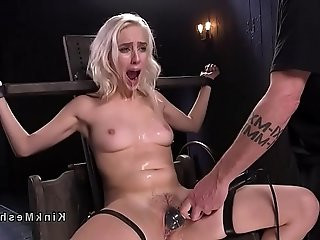 Blonde hard flogged and gagged with dildo in bdsm