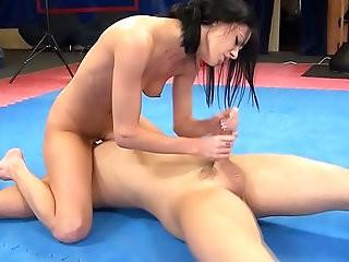 Aliz vs. Peter nude erotic mixed wrestling w blowjob