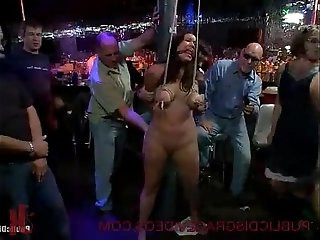 Big boobs brunette bdsm fucked in bar