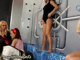 Golden shower in lesbian group